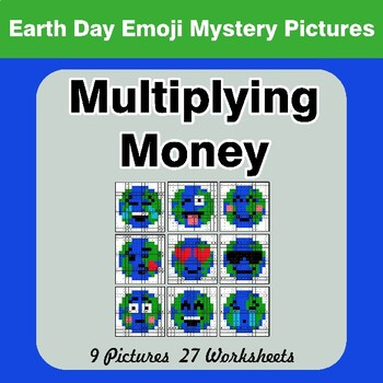 Earth Day Emoji: Multiplying Money - Math Mystery Pictures / Color By Number
