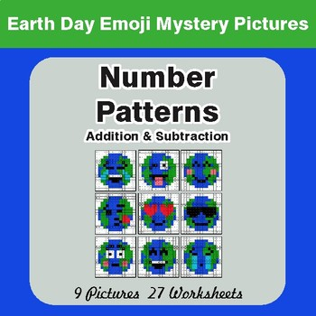 Earth Day Emoji: Number Patterns: Addition & Subtraction - Mystery Pictures