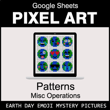 Earth Day Emoji - Number Patterns: Misc Operations - Google Sheets Pixel Art