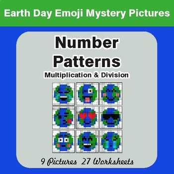 Earth Day Emoji: Number Patterns: Multiplication & Division - Mystery Pictures