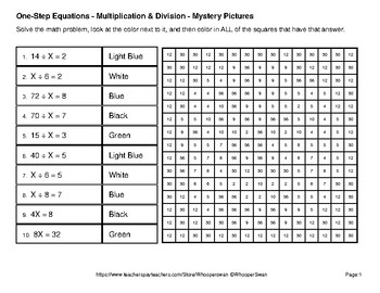 Earth Day Emoji: One Step Equations: Multiplication & Division Mystery Pictures