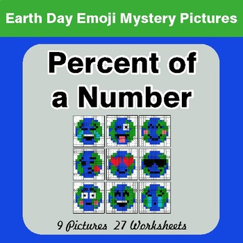 Earth Day Emoji: Percent of a number - Color-By-Number Mystery Pictures