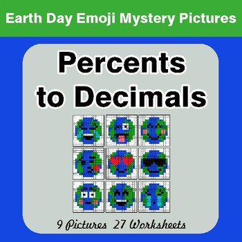 Earth Day Emoji: Percents to Decimals - Color-By-Number Mystery Pictures