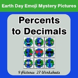 Earth Day Emoji: Percents to Decimals - Color-By-Number My