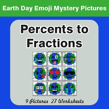 Earth Day Emoji: Percents to Fractions - Color-By-Number Mystery Pictures