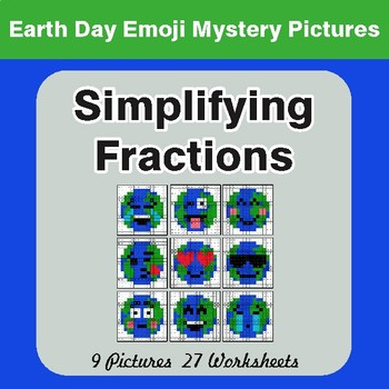 Earth Day Emoji: Simplifying Fractions - Color-By-Number Mystery Pictures