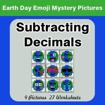 Earth Day Emoji: Subtracting Decimals - Color-By-Number Mystery Pictures