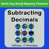 Earth Day Emoji: Subtracting Decimals - Color-By-Number My