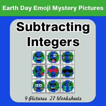 Earth Day Emoji: Subtracting Integers - Color-By-Number Mystery Pictures