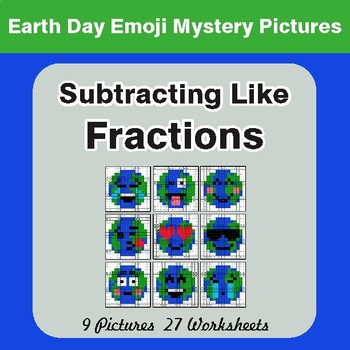 Earth Day Emoji: Subtracting Like Fractions - Color-By-Number Mystery Pictures