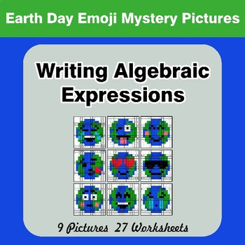 Earth Day Emoji: Writing Algebraic Expressions - Math Mystery Pictures