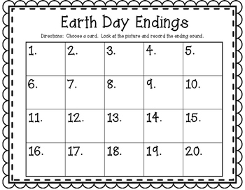 Earth Day Endings~ Clip and Record