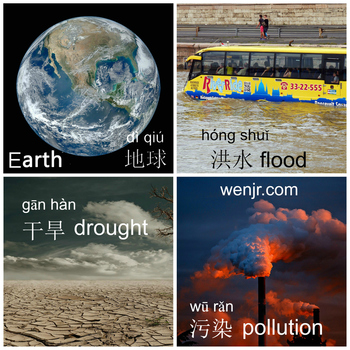 Earth Day English Chinese Bilingual Picture Word List Handout