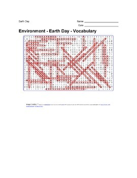 Earth Day - Environment Vocabulary Wordsearch Puzzle