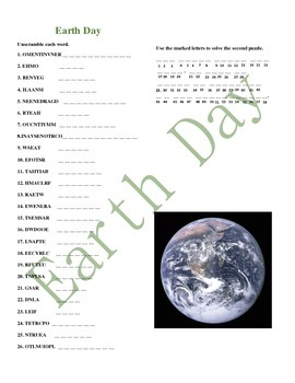 Earth Day - Environment Word Scramble Double Puzzle
