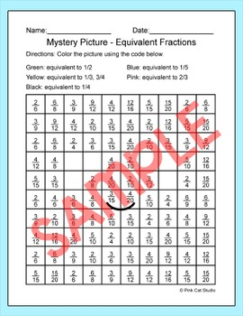 Earth Day Activities - Equivalent Fractions Mystery Picture Math Center
