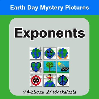 Earth Day: Exponents - Color-By-Number Mystery Pictures