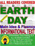 Earth Day FACTS CLOSE READING 5 LEVELED PASSAGES Main Idea Fluency Check TDQs