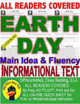 Earth Day FACTS Close Read Article 5 Levels ALL-READERS-COVERED