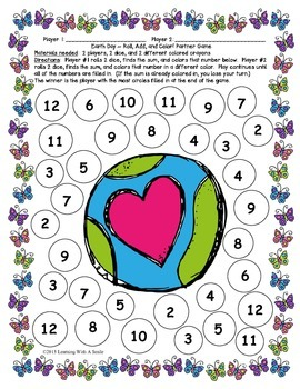 Earth Day FREEBIE ~ Roll, Add, & Color Partner Game ~ Math ~ Print & Play!