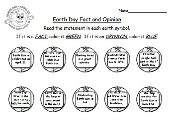 Earth Day Fact and Opinion: Morning Work