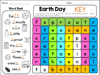 Earth Day Word Search FREEBIE: Fill-in-and-Find Phonics Puzzle