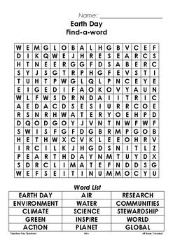 Earth Day Find-a-word