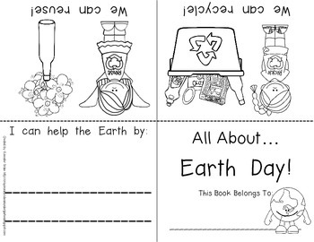 Earth Day Foldable Emergent Reader!  Color, B&W PLUS Comprehension Printable