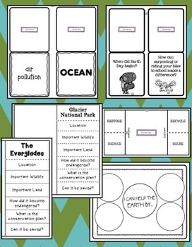Earth Day Foldables!  Science, Our Environment, Endangered Species, & More