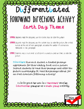 Earth Day Following Directions