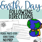 Earth Day Following Directions Coloring Pack- Mixed directions- Speech Therapy