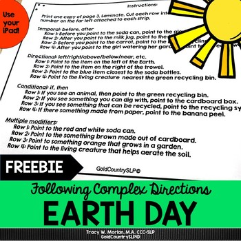 Earth Day Following Complex Directions FREEBIE