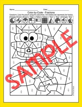 Earth Day Math Fractions Coloring Page - Recycle Owl - Earth Day Activities