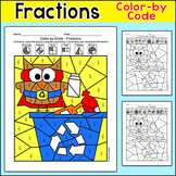 Recycle Owl Earth Day Math Fractions Coloring Page - Fun for Early Finishers