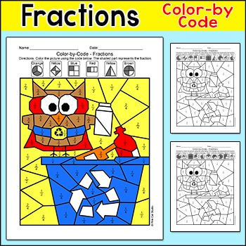 Earth Day Math Fractions Coloring Page - Recycle Owl - Ear