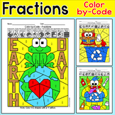 Earth Day Color by Code Fractions Practice - halves, thirds, fourths, fifths