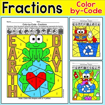 Earth Day Math: Color by Fractions Bundle