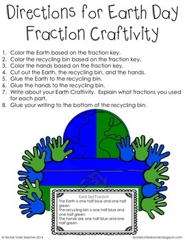 Earth Day Fractions Craftivity - Halves, Thirds, and Fourths