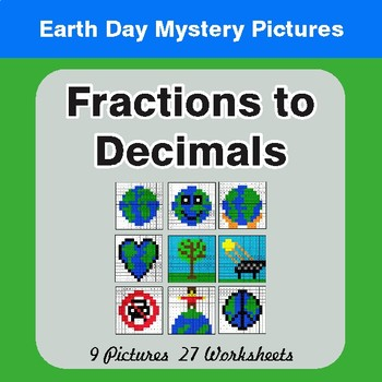 Earth Day: Fractions to Decimals - Color-By-Number Mystery Pictures