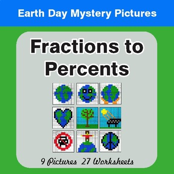 Earth Day: Fractions to Percents - Color-By-Number Mystery Pictures