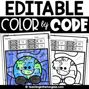 Earth Day Free Color by Code EDITABLE