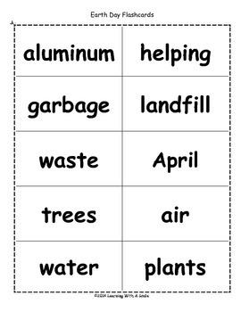 Earth Day Freebie ~ Bingo-Style Word Game
