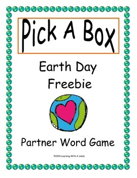 Earth Day (Freebie) Partner Game ~ Pick-A-Box ~ Word Work Activity