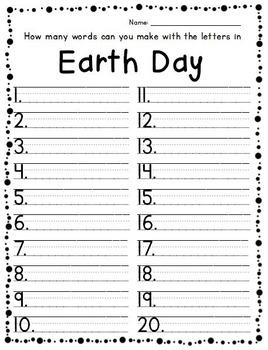Earth Day Fun & Learning