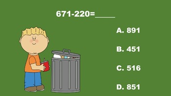 Earth Day Fun With Three Digit Addition/Subtraction - PowerPoint Game