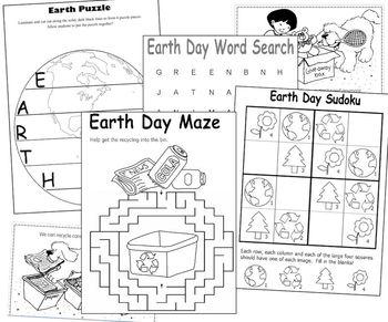 Earth Day Fun for K - 1st grades (Puzzles, Mazes, Mini Book, Sudoku)