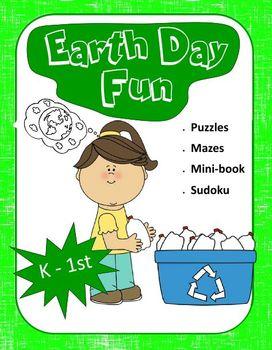 Earth Day Fun for K - 1st grades (Puzzles, Mazes, Mini Boo