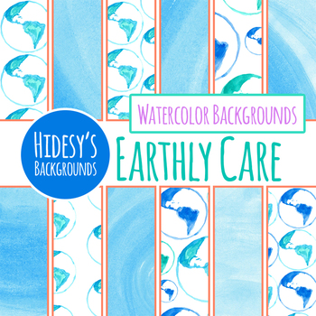Earth Day / Globe Watercolor Backgrounds / Digital Papers CLip Art Commercial