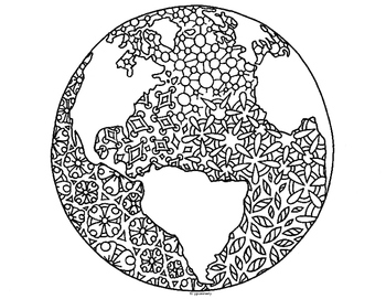 Earth Day Globe World Zentangle Coloring Page by Pamela ...