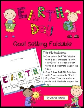 Earth Day Goal Setting Foldable! Reduce Reuse Recycle Spring! Ready-to-Go Task
